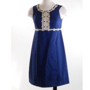 Lilly Pulitzer Shift Dress Navy Blue Gold Trim